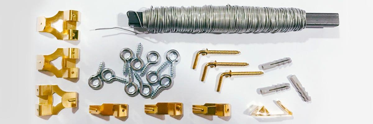 Krokar skruvöglor & taveltråd